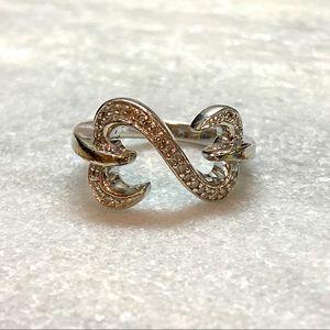 Jane Seymour Diamond Open Hearts Ring - Sterling